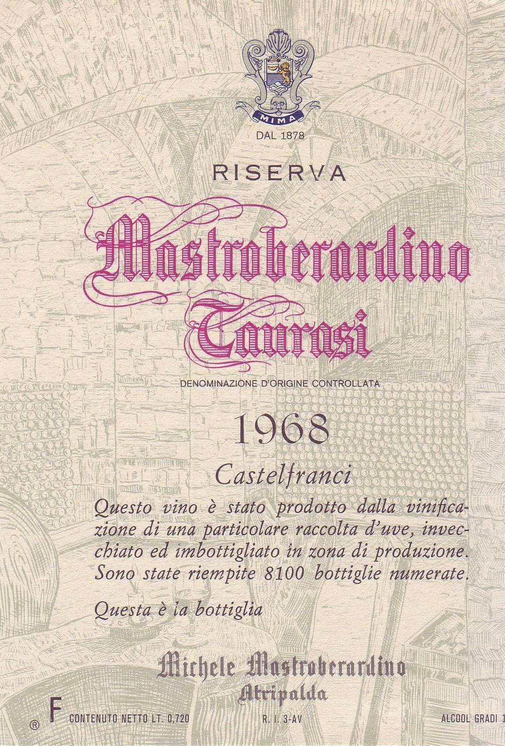 Antonio Mastroberardino's 1968 Taurasi