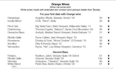 orange wine list