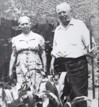 Grandmother and Grandfather Maresca in their  Vegetable Garden