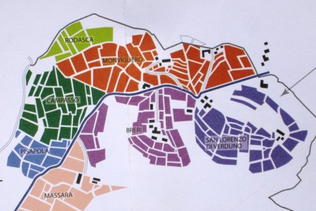 The vineyards of Verduno, northernmost of the Barolo townships. Monvigliero (in brown) is the most important. (Detail from Alessandro Masnaghetti's Barolo DOCG The Official Crus. Info@enogea.it)
